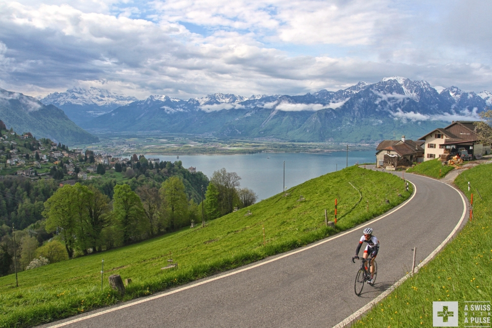 Climbing to Les Avants with Lake Geneva and the Rhone Valley in the background