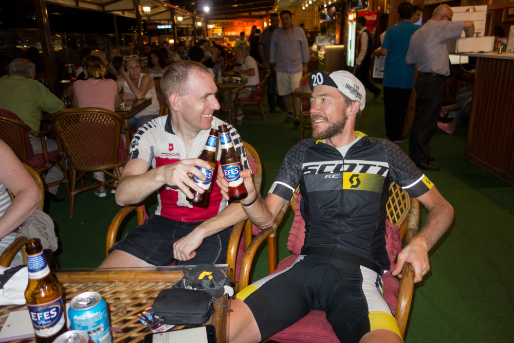 Alain Rumpf and Chris White at the finish of the 2015 Transcontinental Race