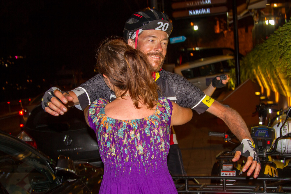 Alain and Lillie Rumpf at the finish of the 2015 Transcontinental Race
