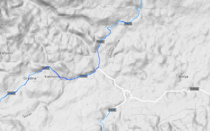 Strava heatmap screenshoot of R434 in Bosnia
