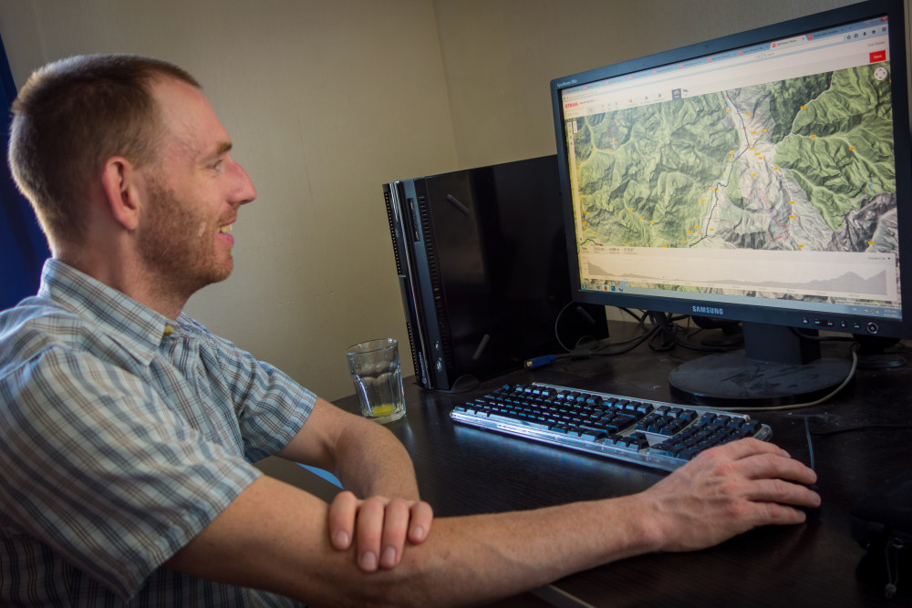 Chris spent hours checking routes using the Strava Route Planner and other tools