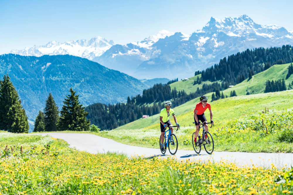Road biking above Leysin, Switzerland