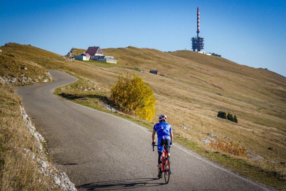 One man climbing Mont Chasseral in Kantion Bern, Switzerland