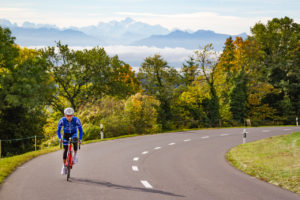 Climbing the Col du Mollendruz with the Mont Blanc in the background