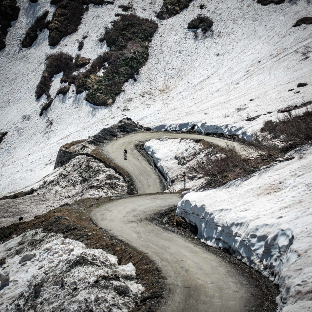 Climbing the Colle delle Finestre just before the Giro d'Italia