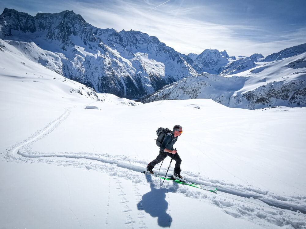 Ski touring above Arolla in Val d'Hérens, Valais, Switzerland